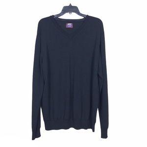 UntuckIt Black Merino Wool V-Neck Sweater Size 2XL